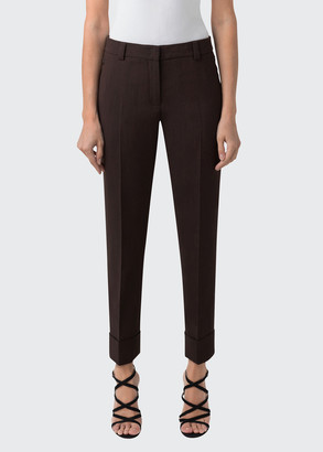 Akris Stretch Wool Cuffed Ankle Pants