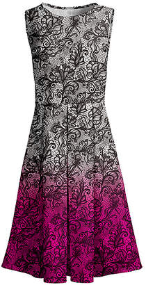 Lily Women's Casual Dresses BLK - Black & Pink Ombre Lace Print Pleated Sleeveless A-Line Dress - Women & Plus