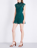 Sandro Frilled-collar lace playsuit