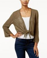 Hooked Up by It's Our Time Juniors' Pointelle-Back Tie-Front Cardigan
