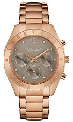 Caravelle New York Rose Gold Boyfriend Women's Quartz Watch with Grey Dial Chronograph Display and Rose Gold Bracelet 44L190