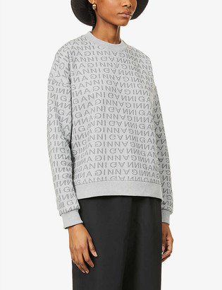 Ganni Logo-print recycled cotton and recycled polyester-blend sweatshirt