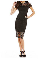 London Times Illusion Lace Sheath Dress