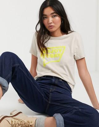 Only Kita short sleeve neon graphic t-shirt-Grey
