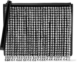 Christopher Kane Crystal-embellished Fringed Patent-leather Clutch