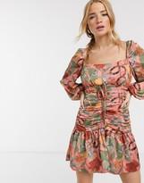 Finders Keepers elisa ruched printed mini dress in pink snake