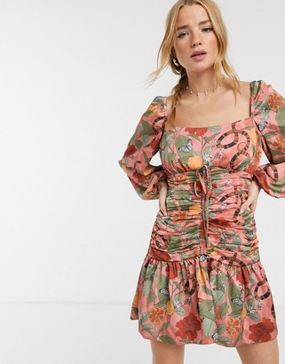 Finders Keepers elisa ruched printed mini dress in pink snake