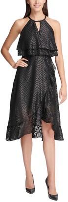 Kensie Chevron Ruffled Halter Neck High/Low Dress