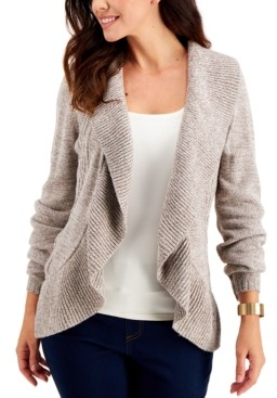 Karen Scott Plus Size Cocoon Open-Front Cardigan, Created for Macy's