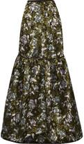 Erdem Amanda Tiered Floral-jacquard Maxi Skirt - Dark green