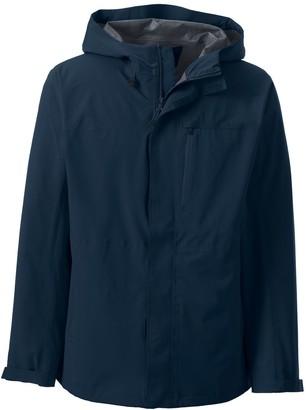 Lands' End Men's Packable Waterproof Hooded Rain Jacket