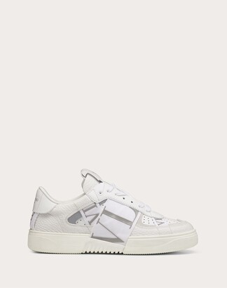 Valentino Vl7n Sneaker In Banded Calfskin Leather Women White/ice 100% Pelle Di Vitello - Bos Taurus 35