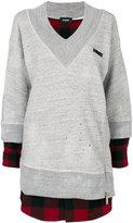 DSQUARED2 layered sweatshirt dress - women - Cotton/Wool - XS