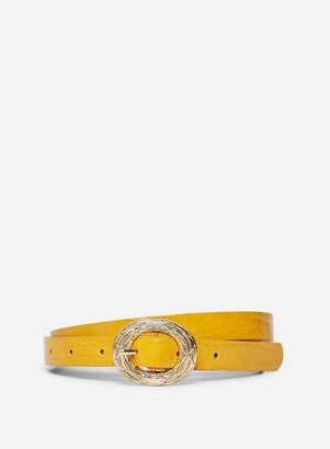 Dorothy Perkins Womens Mustard Skinny Croc Belt