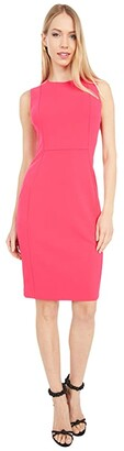 Calvin Klein Solid Sheath Dress (Lipstick) Women's Dress