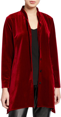 Caroline Rose Button-Down Stretch Velvet Swing Shirt with Mandarin Collar