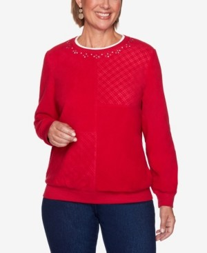 Alfred Dunner Women's Plus Size Classics Solid Anti-Pill Top