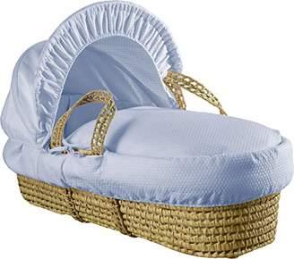 Clair De Lune Cotton Dream Grey Wicker Moses Basket - Blue