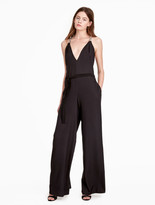 Halston Flowy Wide Leg Jumpsuit With Chain Embellishment