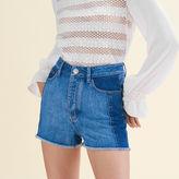 Maje Patchwork-style denim shorts