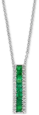 """Effy Emerald (9/10 ct. t.w.) & Diamond (1/10 ct. t.w.) 18"""" Pendant Necklace in 14k White Gold"""