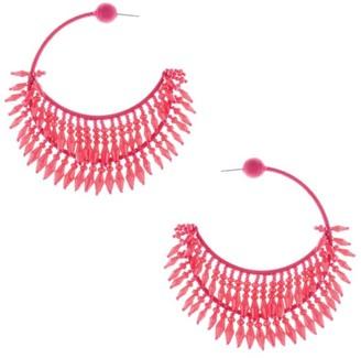Oscar de la Renta Beaded Half Loop Post Earrings