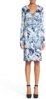 Roberto Cavalli Lace-Up Print Jersey Dress