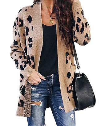 MATCHANT Womens Long Sleeve Leopard Dot Print Open Front Knitted Cardigan with Pocket
