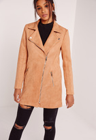 Missguided Bonded Faux Suede Biker Coat Tan