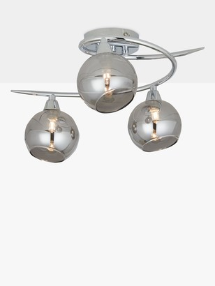 John Lewis & Partners Ribbon Semi Flush, 2 Arm Smoked Glass Ceiling Light, Chrome/Grey