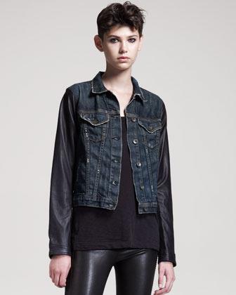 Rag and Bone Distressed Leather-Sleeve Jean Jacket