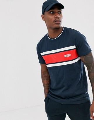 Wesc Max chest stripe t-shirt-Navy
