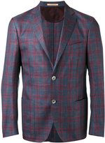 Corneliani checked blazer - men - Silk/Linen/Flax/Virgin Wool - 52