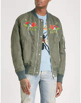 Gucci Reversible Floral And Bird-embroidered Shell Bomber Jacket