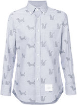 Thom Browne Long Sleeve Button Down Shirt With 'Thom Cat' And Hector Embroidery In Blue Oxford