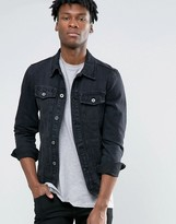 Pull&Bear Denim Jacket With Abrasions In Black