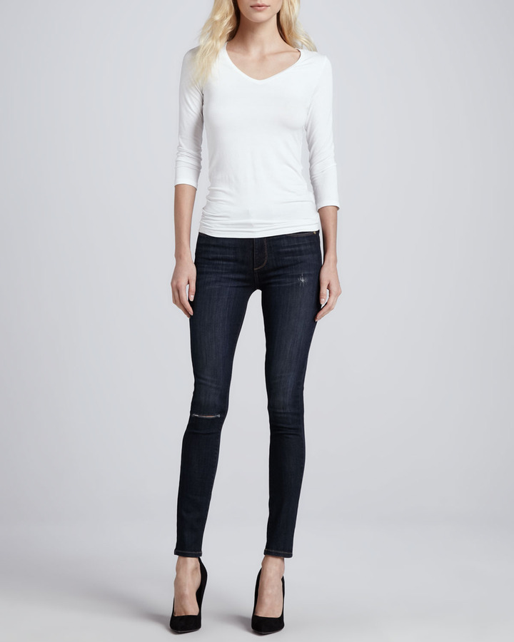Paige Skyline Ankle Peg Voyage Destroyed Skinny Jeans
