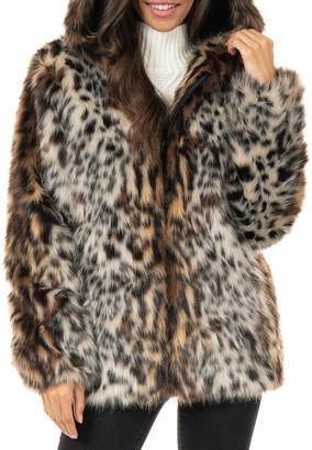 Fabulous Furs Hooded Faux Ocelot Zip Parka