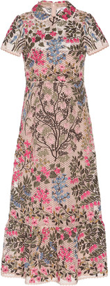 RED Valentino Floral-Embroidered Macrame Midi Dress