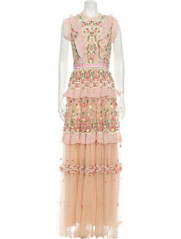 Needle & Thread Floral Print Long Dress w/ Tags Pink