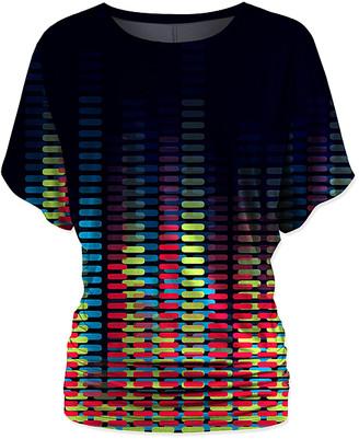 Udear UDEAR Women's Blouses Print - Black & Rainbow Abstract Dolman Top - Women & Plus