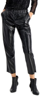 Alfani Faux Leather Pull-On Pants, Created for Macy's