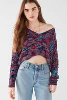 Silence & Noise Silence + Noise Slouchy Chenille High/Low V-Neck Sweater