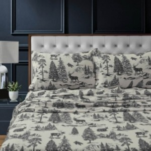 Tribeca Living Mountain Toile Heavyweight Flannel Extra Deep Pocket Full Sheet Set Bedding