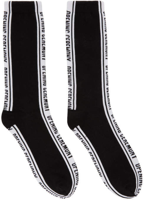 Opening Ceremony Black Jacquard Logo Socks