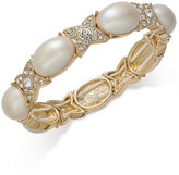 Charter Club Gold-Tone Pave & Imitation Pearl Stretch Bracelet, Only at Macy's