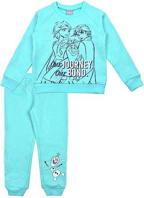 Children's Apparel Network Girls' Sweatpants BLUE - Frozen 2 Light Aqua 'Our Journey Our Bond' Glitter Jogger Set - Toddler