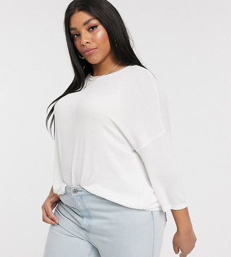 Vero Moda Curve oversized batwing knitted top in cream
