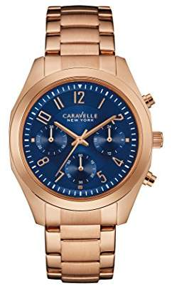 Caravelle New York Rose Gold Melissa Women's Quartz Watch with Blue Dial Chronograph Display and Rose Gold Bracelet 44L199
