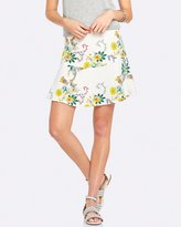 Oxford Olive Linen Floral Skirt